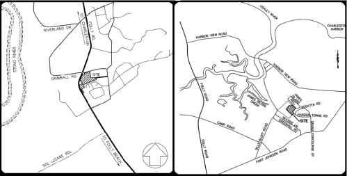 CUTLINE:Maps of two new proposed developments on James Island: The Cooper James Planned Unit Development multi-use project and the D.R. Horton subdivision.
