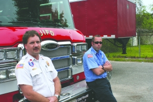 As employees of the JIPSD, James Island firefighters Capt. Shawn Engelman (left) and Engineer Jared Renshaw are amongst the more than 125 employees to be directly affected by the Commission's decision on how to finance the coming fiscal year's activities